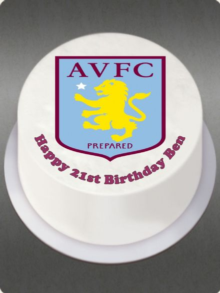 Aston Villa (White Background) Edible Cake Topper